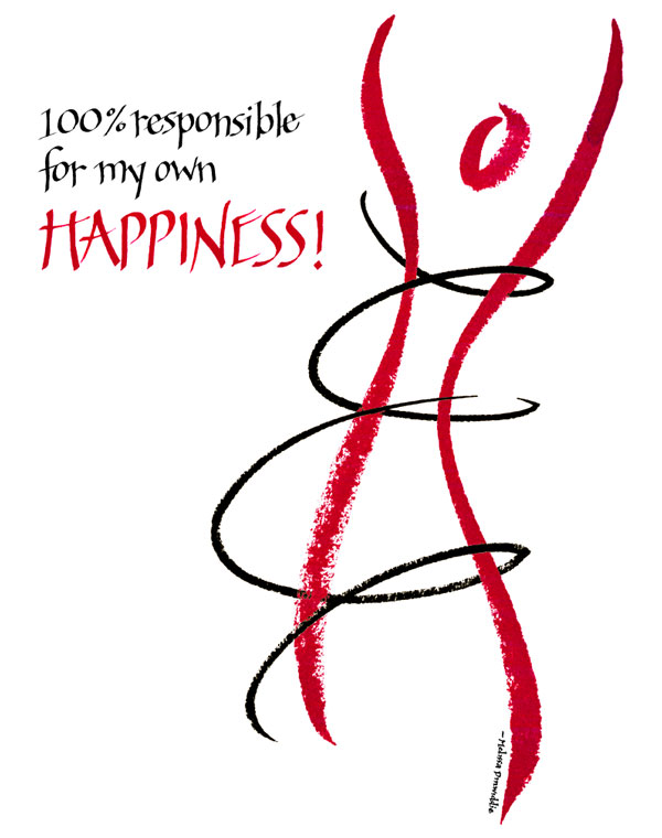 image of calligraphic artwork: 100% responsible for my own happiness