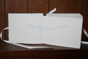 50 Reasons book, hand-made and calligraphy by Melissa Dinwiddie