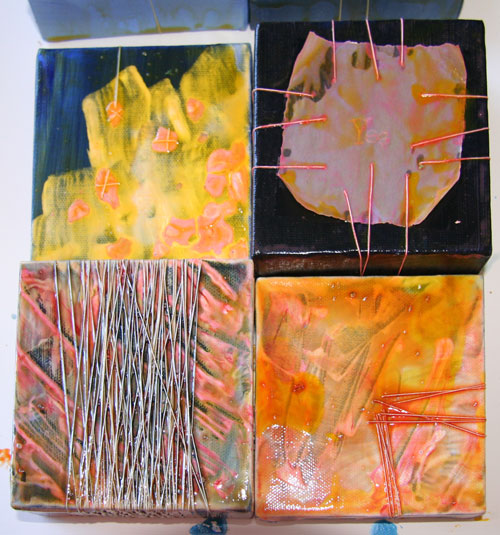 "More acrylic experiments - 4"" square canvases"