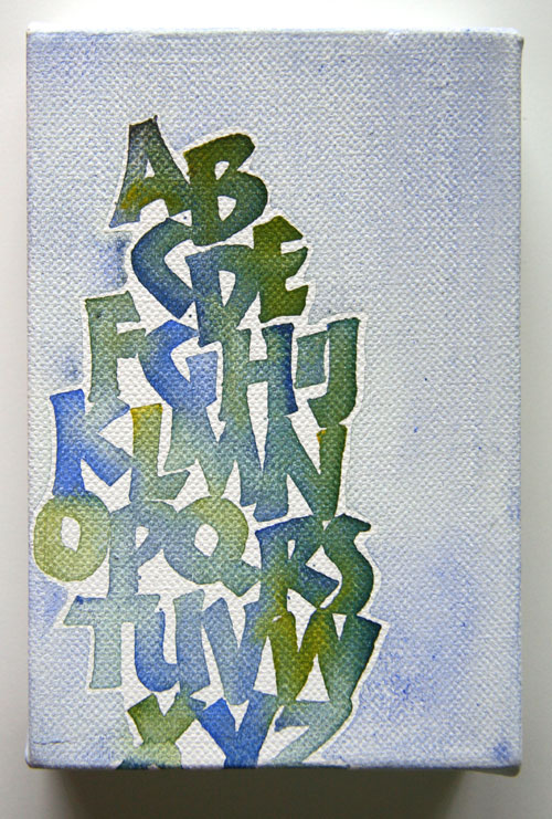 Neuland alphabet in blue and green, by Melissa Dinwiddie