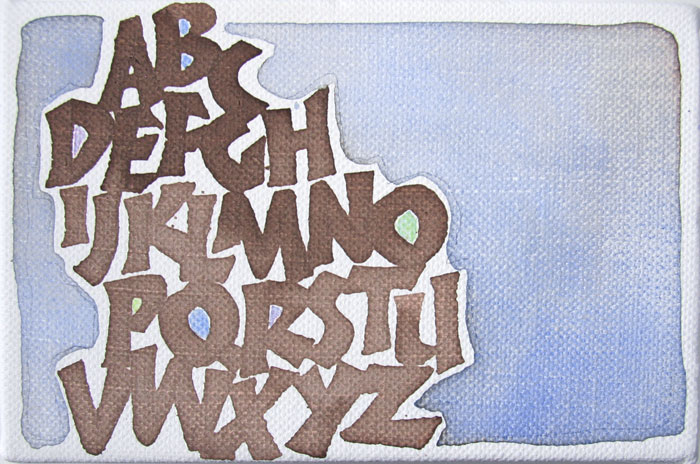 Neuland alphabet in walnut ink and watercolor, by Melissa Dinwiddie