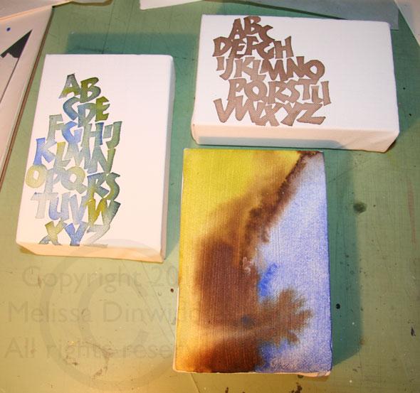 watercolor canvases in progress - ©Melissa Dinwiddie 2011