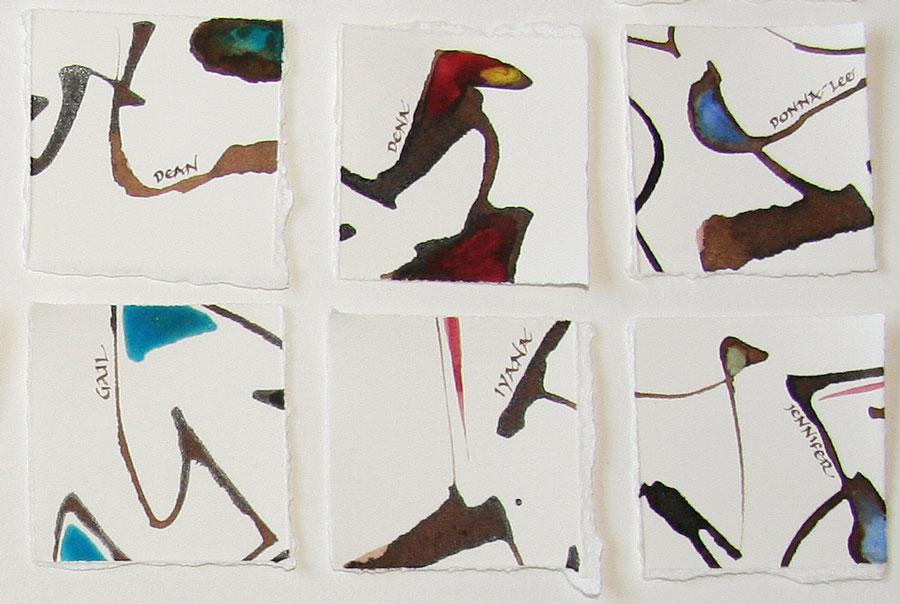 "1 1/2"" square walnut ink pieces by Melissa Dinwiddie"