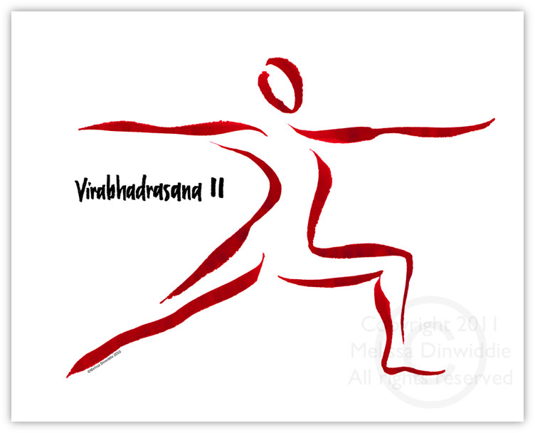 Warrior 2 Yogini calligraphy art print by Melissa Dinwiddie