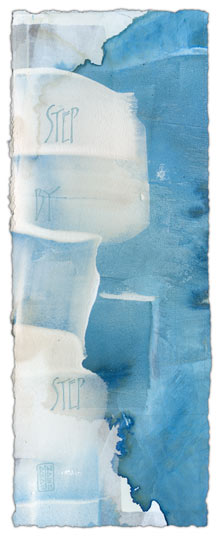Step By Step - calligraphy art by Melissa Dinwiddie (watercolor ground, Ziller ink, walnut ink)