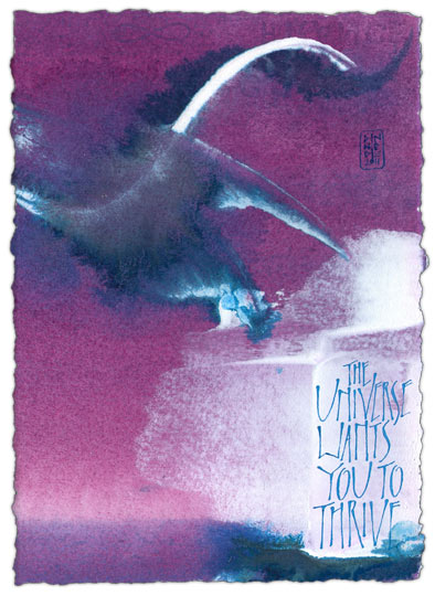 The Universe Wants You To Thrive - calligraphy art by Melissa Dinwiddie