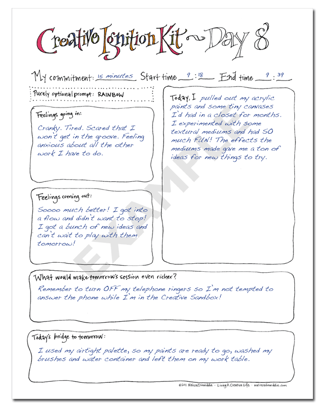 Creative Ignition Kit Workbook example page