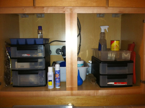 Under-sink cabinet after ClutterBusters