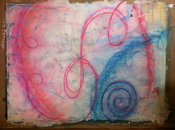 ArtSpark artwork in progress - pastel over watercolor ground over ink & watercolor