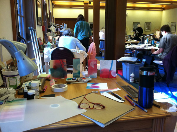 My desk in the Scriptorium at the Retreat 2012