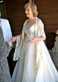 Mom in her wedding dress at the 50th wedding anniversary party