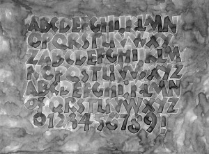 Calligraphy Neuland alphabet by Melissa Dinwiddie