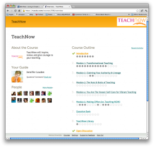 My TeachNow home page on Ruzuku