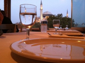View of Hagia Sophia from Indian restaurant in Istanbul