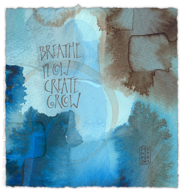 Breathe Flow Create Grow - calligraphy art by Melissa Dinwiddie