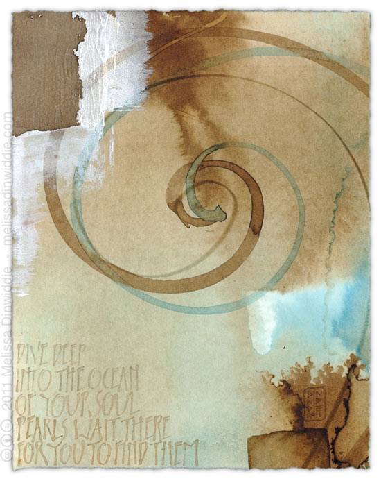 Dive Deep Into the Ocean - calligraphy art by Melissa Dinwiddie