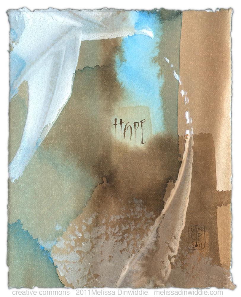Hope - calligraphy art by Melissa Dinwiddie