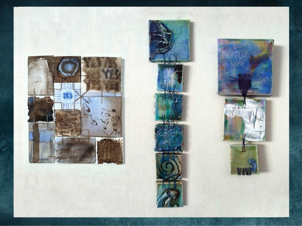 Spark Session slide: original artwork: tiny, sewn-together canvases