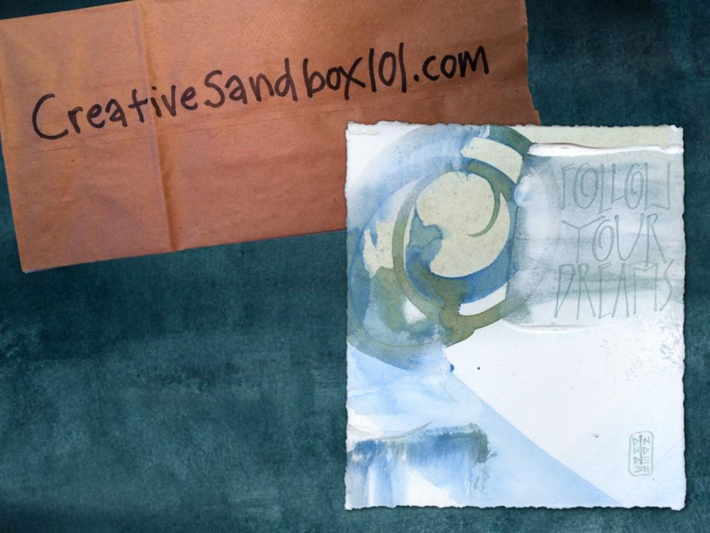 Spark Session slide: CreativeSandbox101.com, and calligraphy artwork: Follow Your Dreams