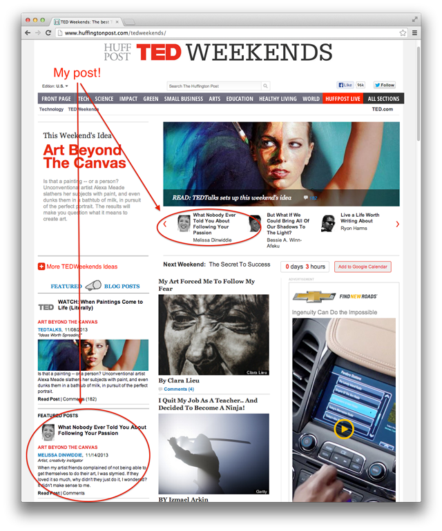 Screenshot of my post on the front page of the TED Weekends section of the Huffington Post
