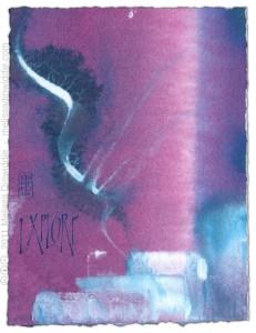 Explore 2 - calligraphy art by Melissa Dinwiddie - watercolor, Ziller ink, watercolor ground