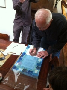 My Pop, signing the ketubah at the signing ceremony, the morning of our wedding!