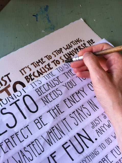 Using the mockup as a guide for calligraphy