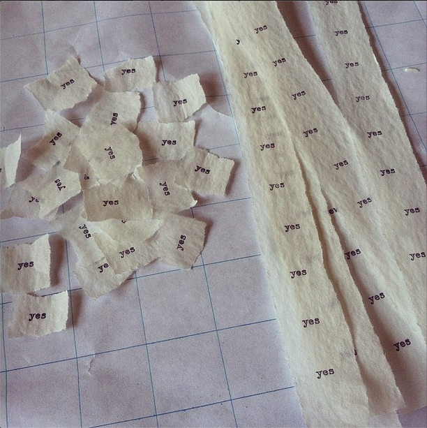 strips and scraps of typed yesses