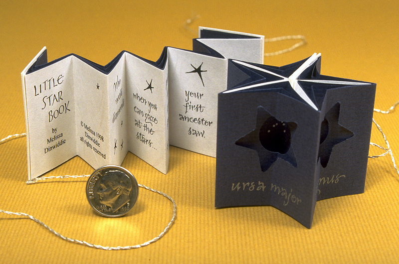 Little Star Book - miniature artist's book in tunnel-star format by Melissa Dinwiddie