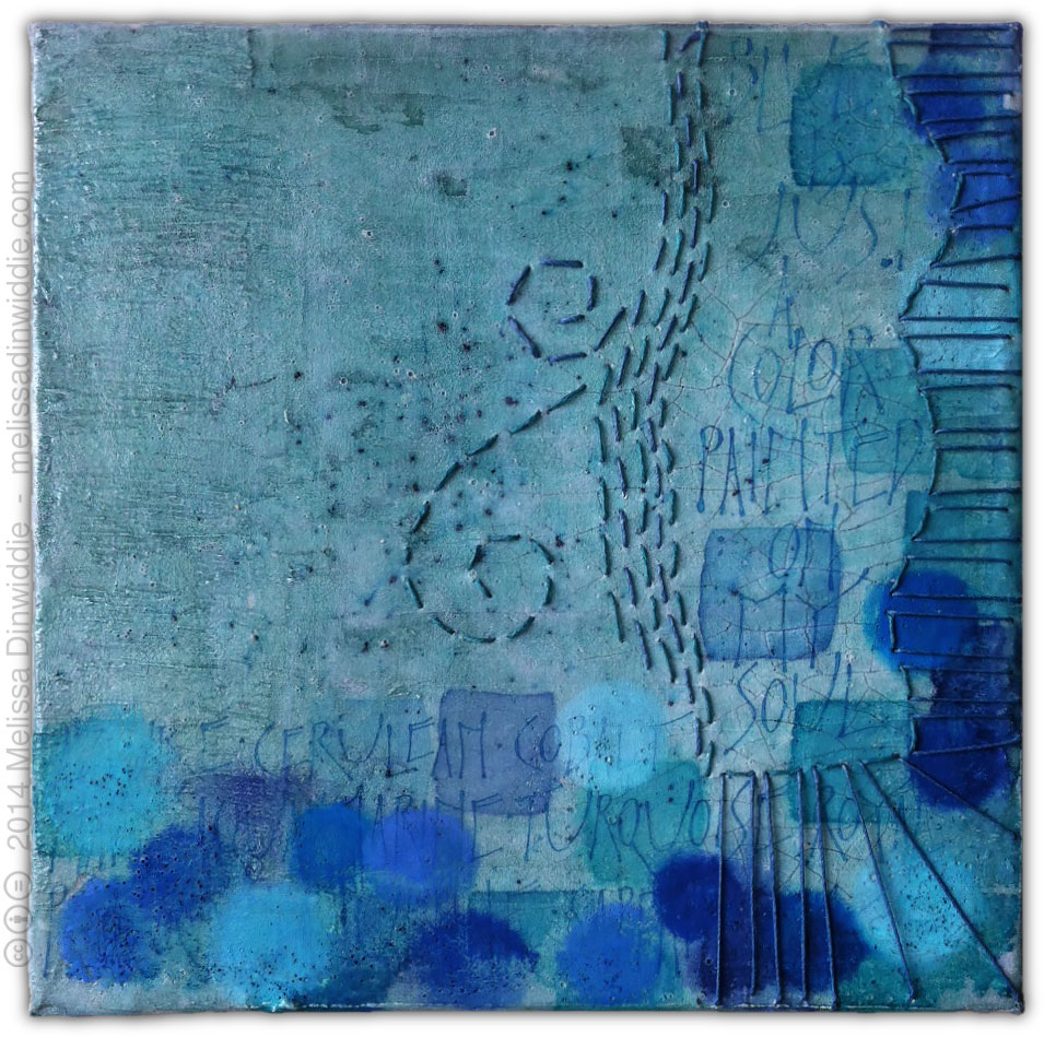 Blue Is Just A Color - mixed media painting on canvas, 8x8