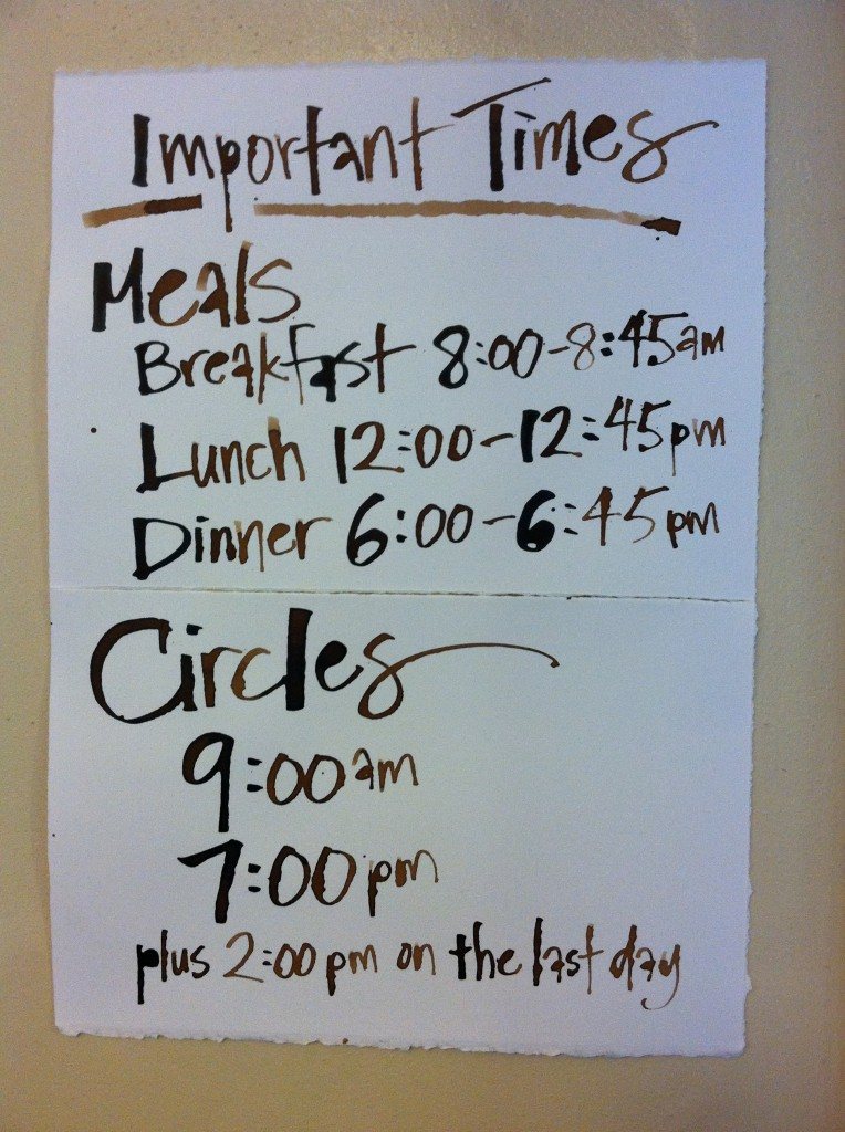 Create & Incubate Retreat 2014 - Important Times sign