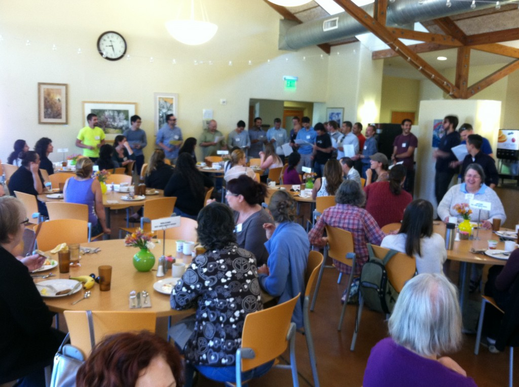 Presentation Center dining hall, being serenaded by the men from Engaged Encounter.
