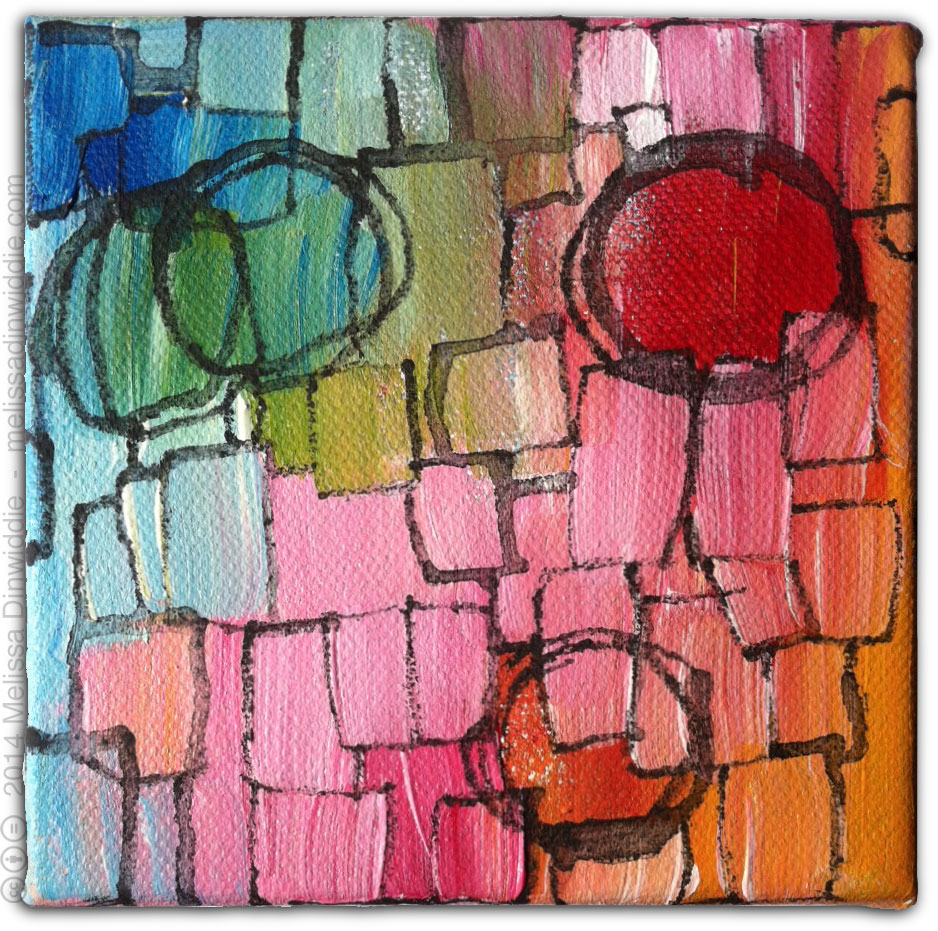 May 31 - abstract expressionist mixed media acrylic painting rainbow colors