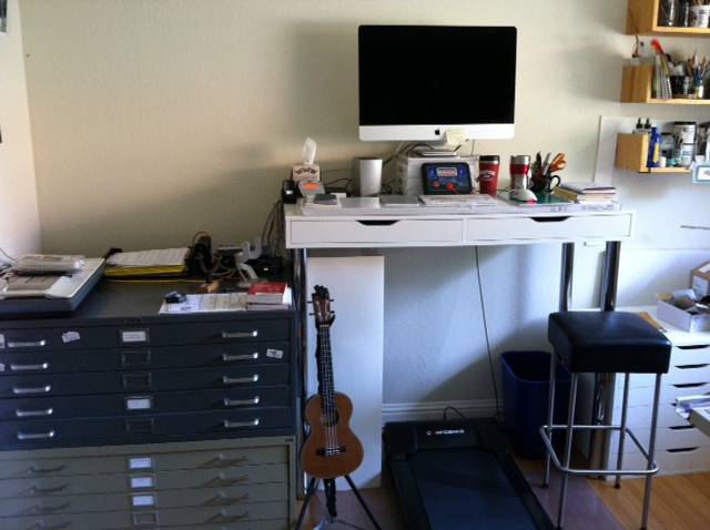 My new (still in-process!) Ikea hack standing desk / treadmill desk!!