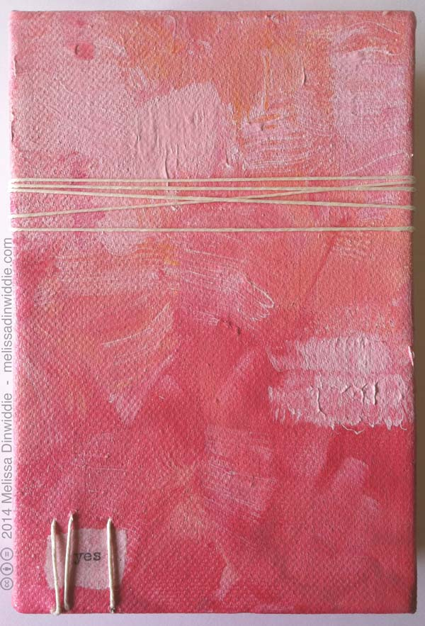 Pink Yes - mixed media painting, 4x6