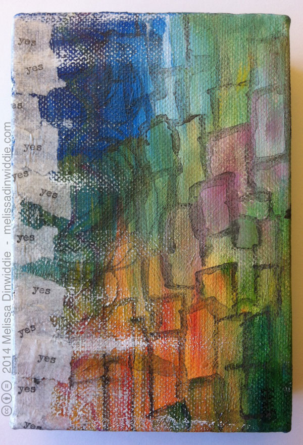 Yes Cascade - abstract mixed media painting