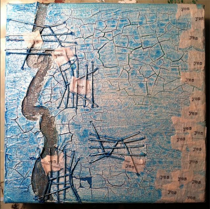 snapshot of A Stitch In Yes mixed media artwork