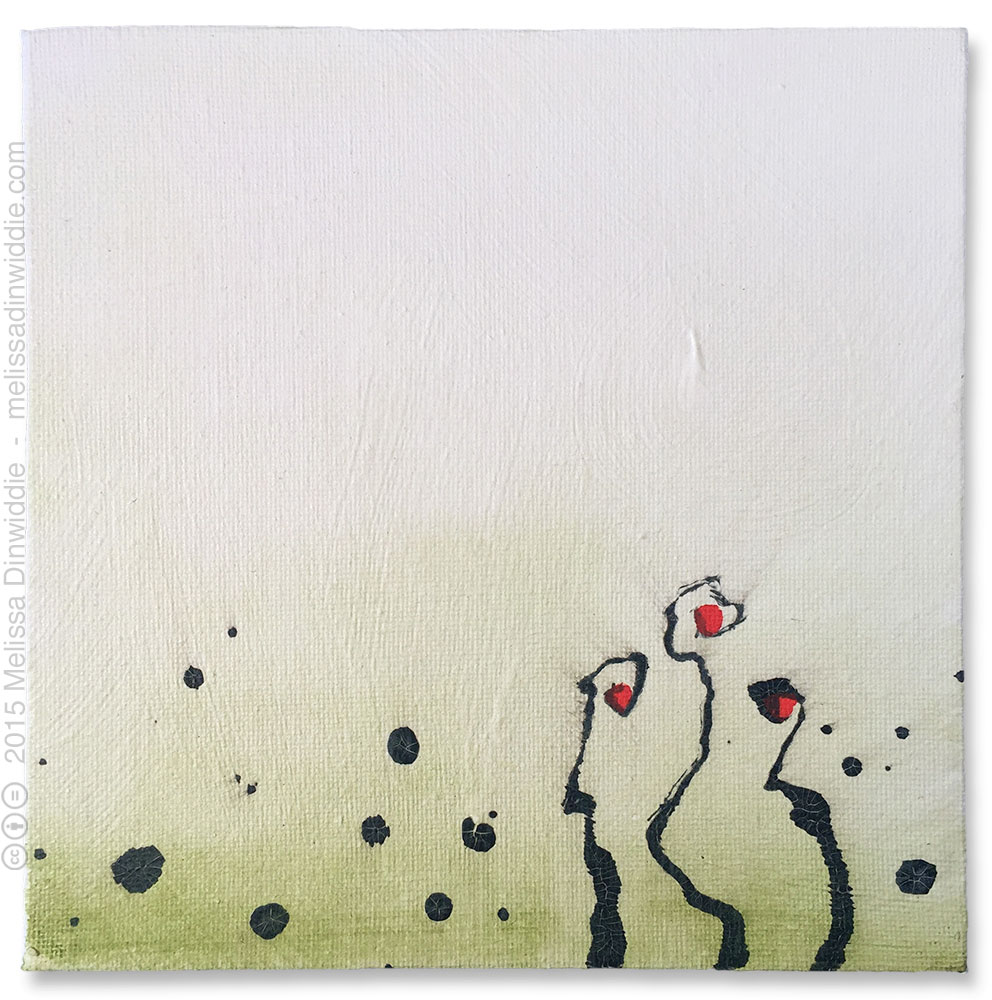 """Tendrils - 6"""" x 6"""" abstract mixed media painting by Melissa Dinwiddie"""