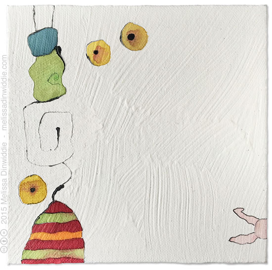 Shy Rabbit-mixed media painting by Melissa Dinwiddie