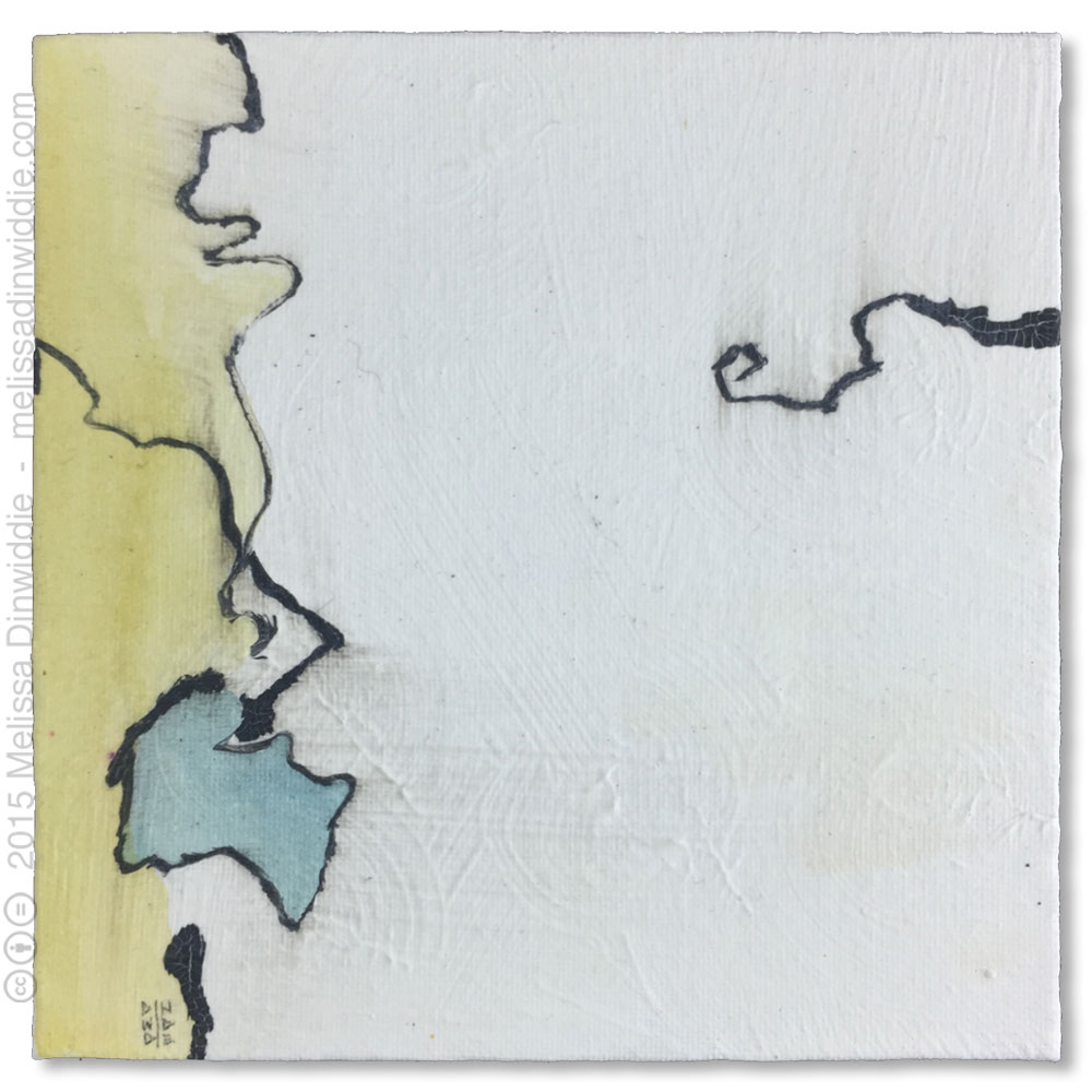 """6"""" x 6"""" mixed media abstract painting by Melissa Dinwiddie"""