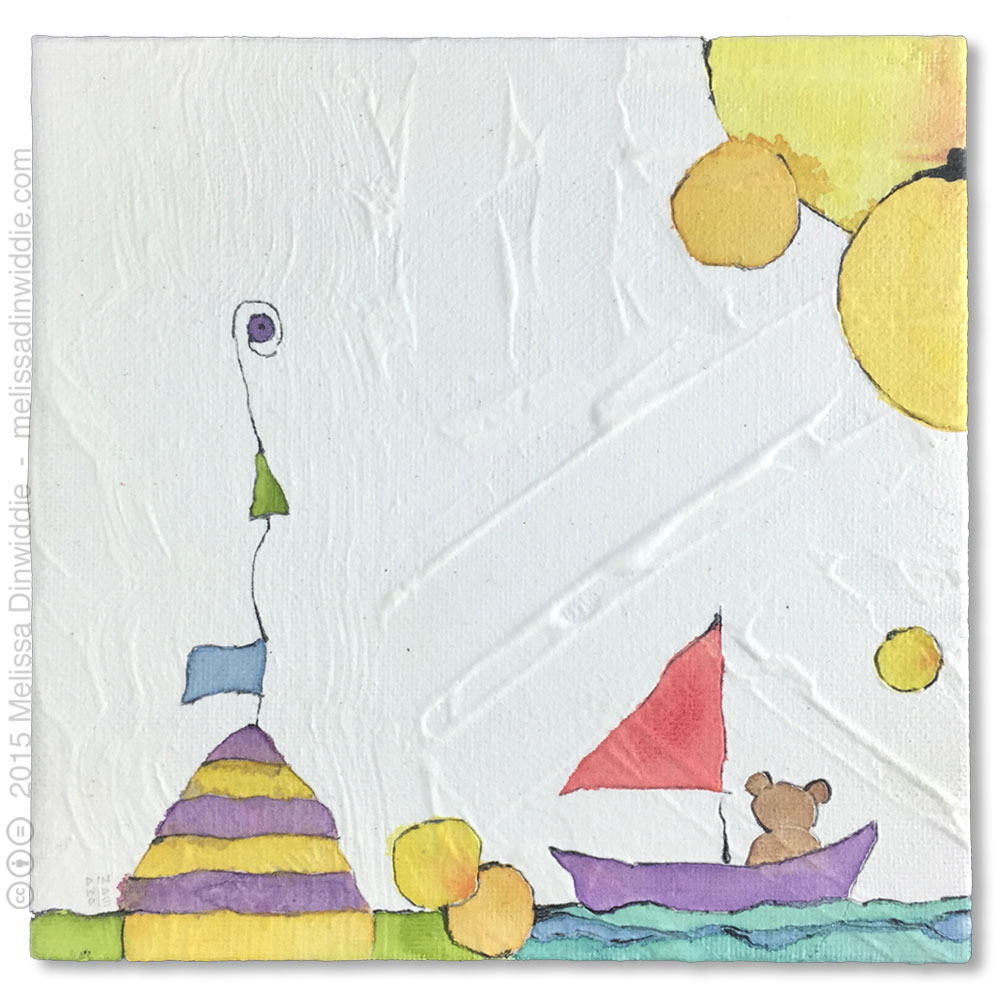 Bon Voyage Bear - mixed media abstract painting by Melissa Dinwiddie
