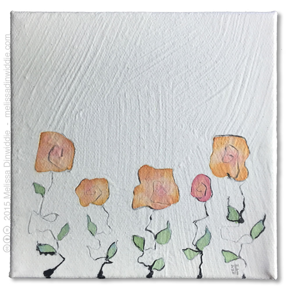 Rose Garden - mixed media abstract painting by Melissa Dinwiddie