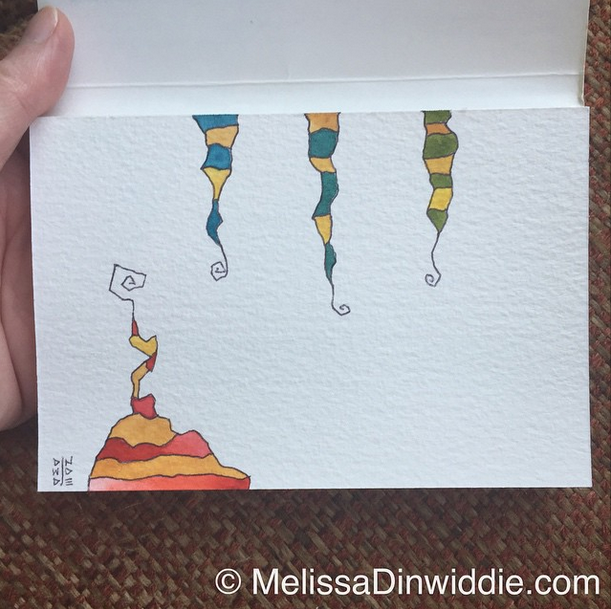 Watercolor postcard - daily painting by Melissa Dinwiddie, SOLD to Neala