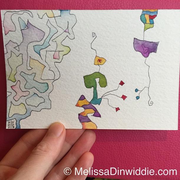 Watercolor postcard - daily painting by Melissa Dinwiddie