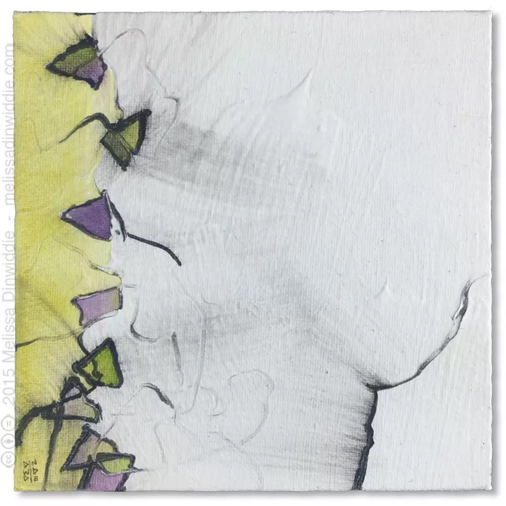 """Ladder - 6"""" x 6"""" abstract mixed media daily painting by Melissa Dinwiddie"""