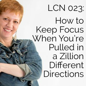 LCN 023: How to Keep Focus When You're Pulled In a Zillion Different Directions