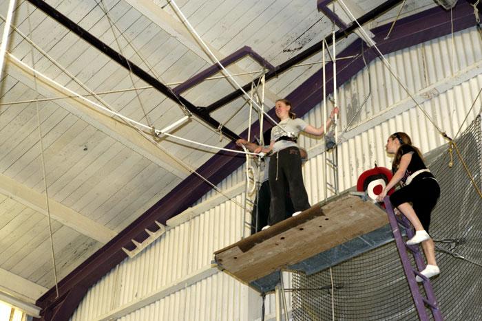 Flying trapeze platform. Photo courtesy of Trapeze Arts, Oakland, CA.