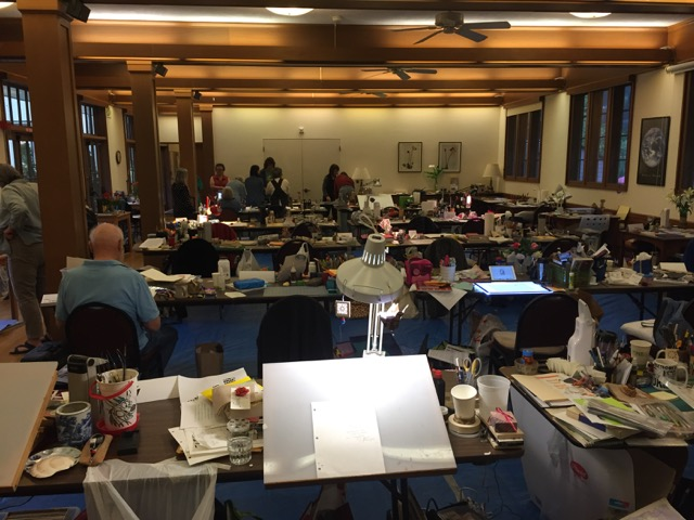 The view from the back of the Scriptorium at the Friends of Calligraphy Spring Retreat at Santa Sabina Center