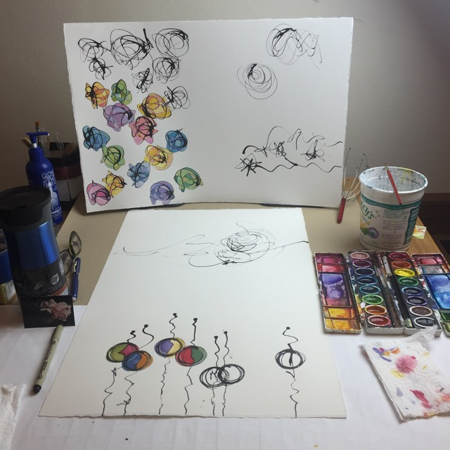 Watercolor paintings-in-progress at the 2016 FOC Retreat