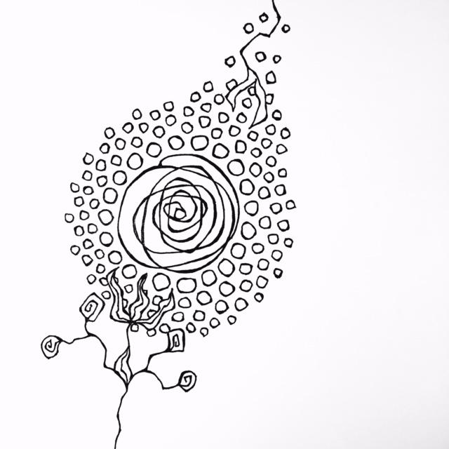 Snow Rose doodle by Melissa Dinwiddie
